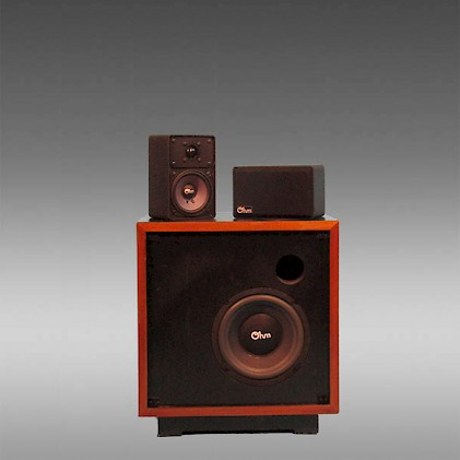 A Pair Of Ohm M Minispeakers With The Matching N2 Subwoofer